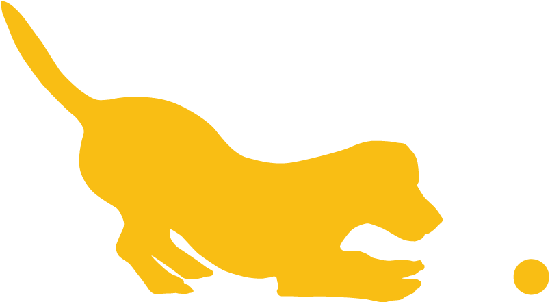 Graphic of a yellow dog playing with a ball