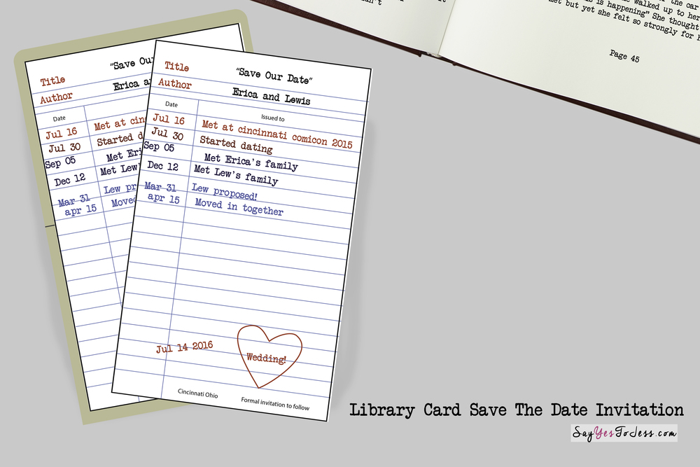 check out library card save the date invitation for weddings