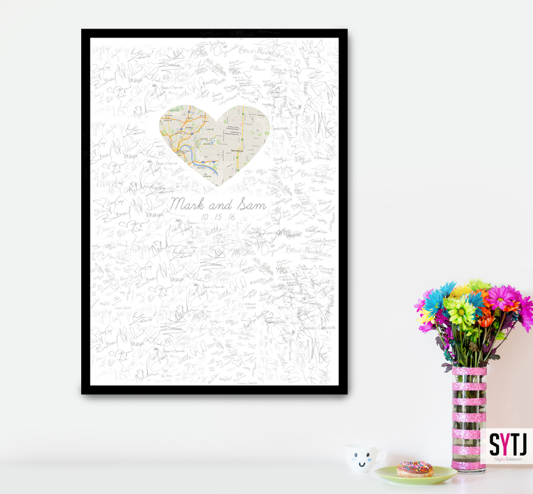 Map Heart Wedding Guestbook  Say Yes To Jess