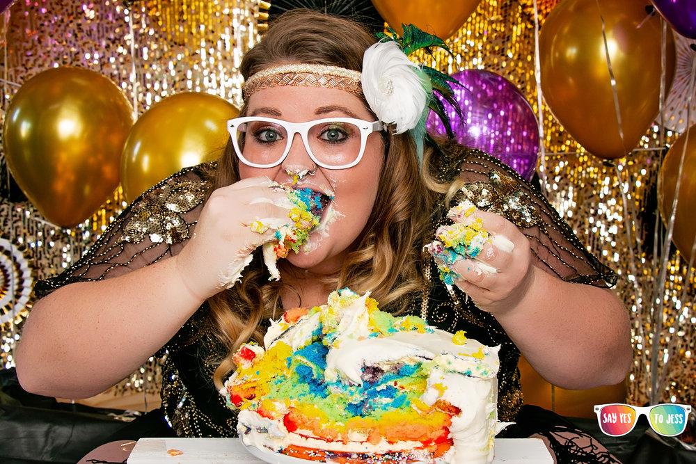 Rainbow cake and 30's themed Cake smash.jpg