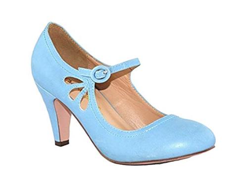 30's themed powder blue  kitten heel teardrop shoes for cake smash session in cincinnati ohio.jpg