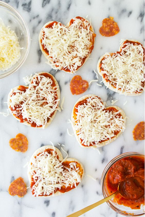 Mini Heart shapped pizzas by Sarah Hearts!