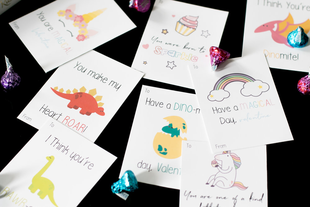 Free Printable Unicorn and Dinosaur Themed Valentines Day Cards.jpg