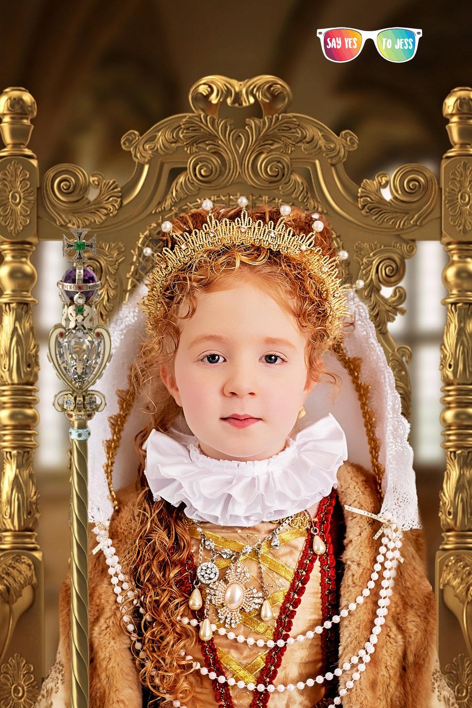 Little girl dresses as Elizabeth I of England for International Womens Day