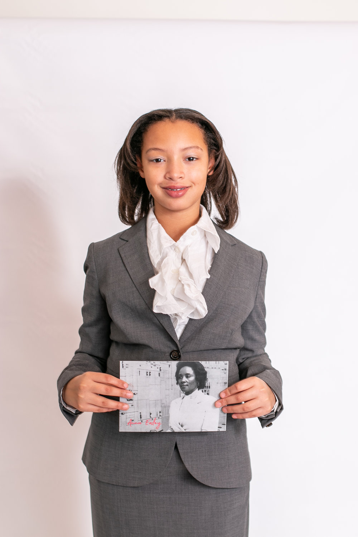 Child dressed as Annie Easley for International womens Day in Cincinnati Ohio