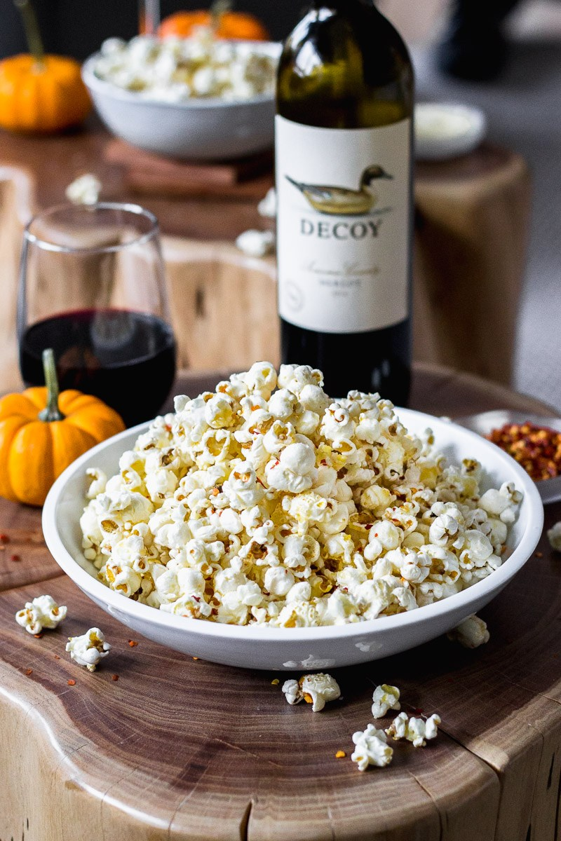 Spicy Parmesan Garlic Popcorn