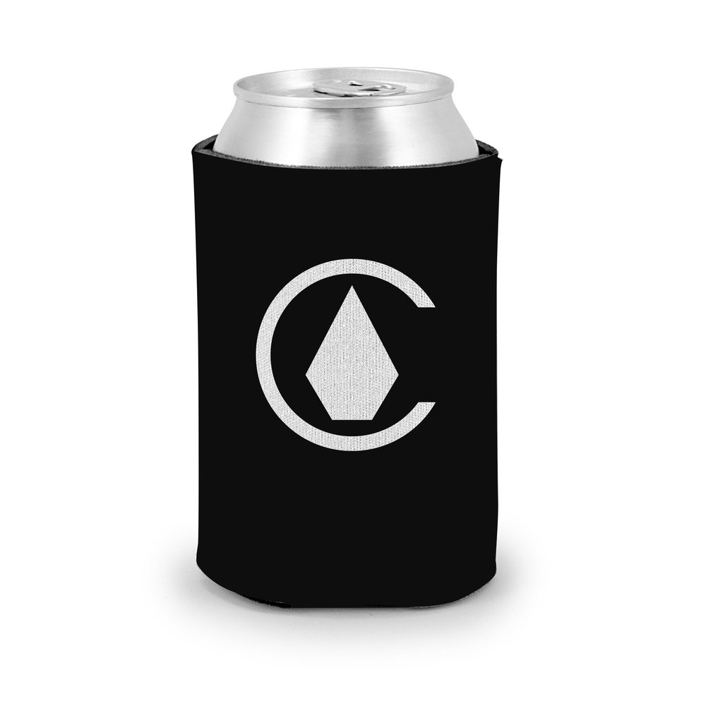Co-branded Chive x Volcom can koozie mockup