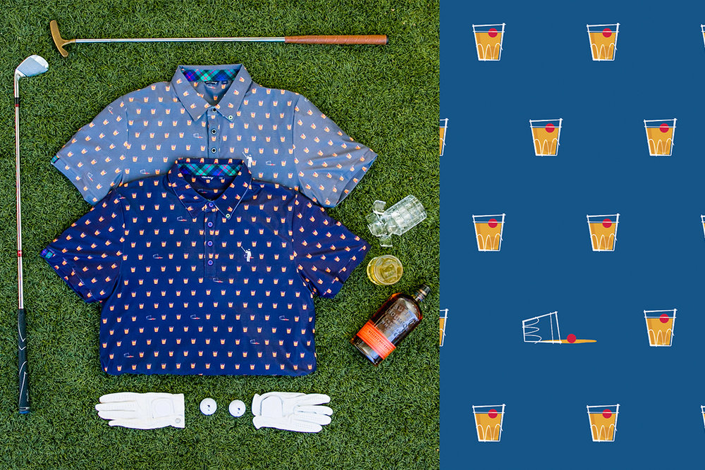 Suntory Whiskey glass pattern on polo