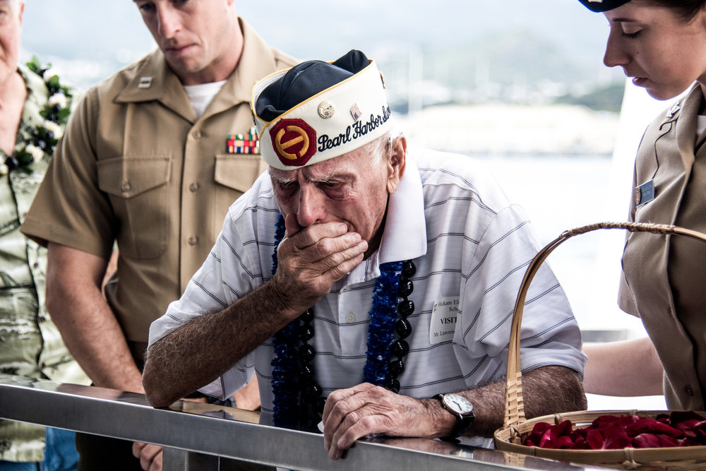An emotional image I captured on a visiting Pearl Harbor with 12 Veterans in partnership with Greatest Generations Foundation and Chive Charities