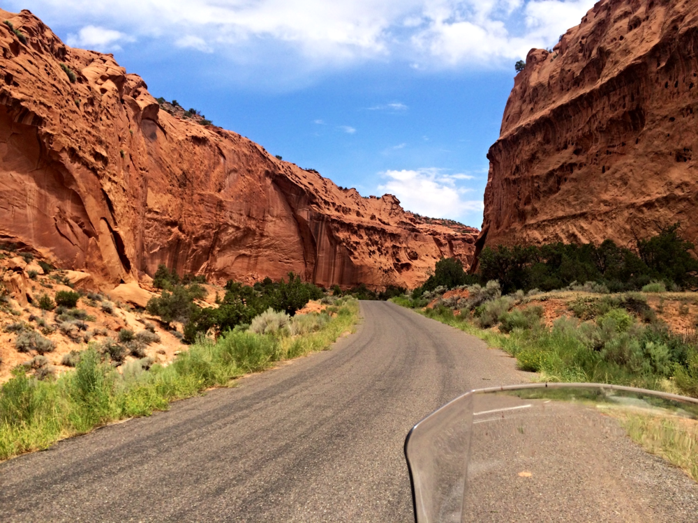 the Burr Trail - Winding through the steep-walled canyon