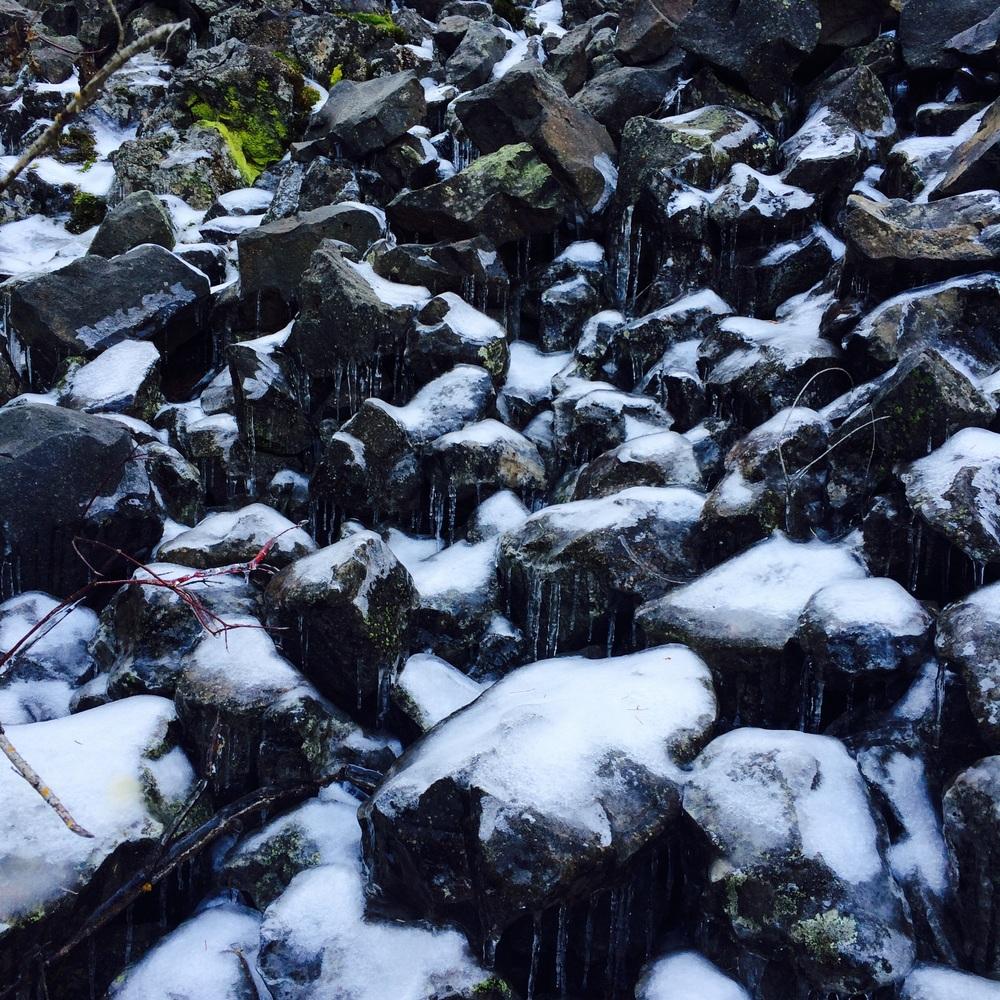 Ice on basalt