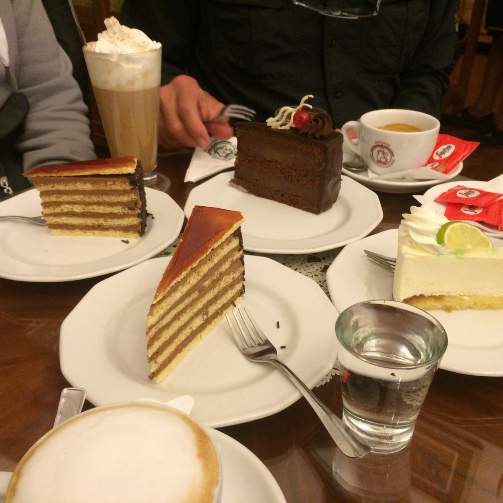 Coffee and cakes at Ruszwurm.  We are becoming used to this!