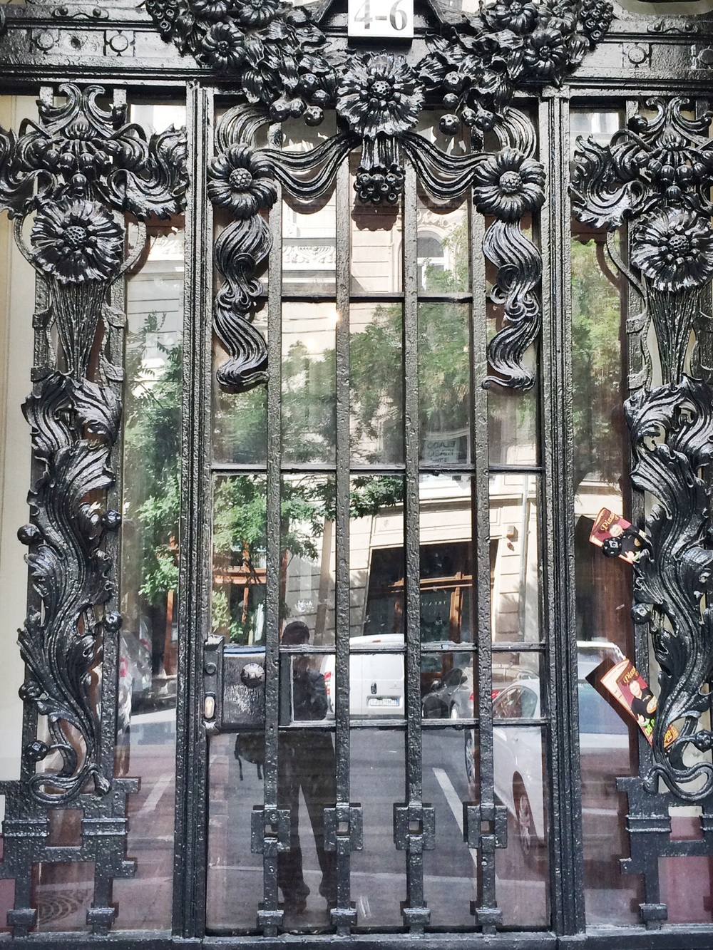 Mirrored, Art Nouveau entry and door.