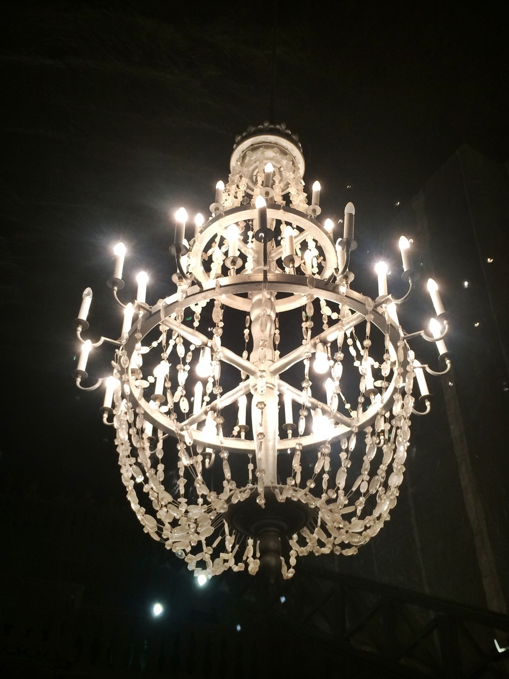 Chandelier with crystals made of salt
