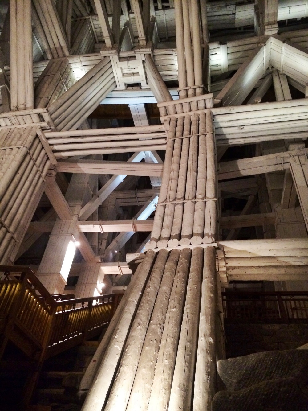 Wooden framework supporting the ceiling of the mine