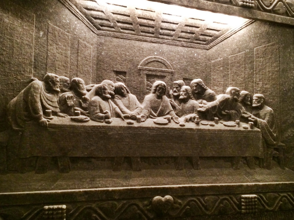 The Last Supper carved in relief