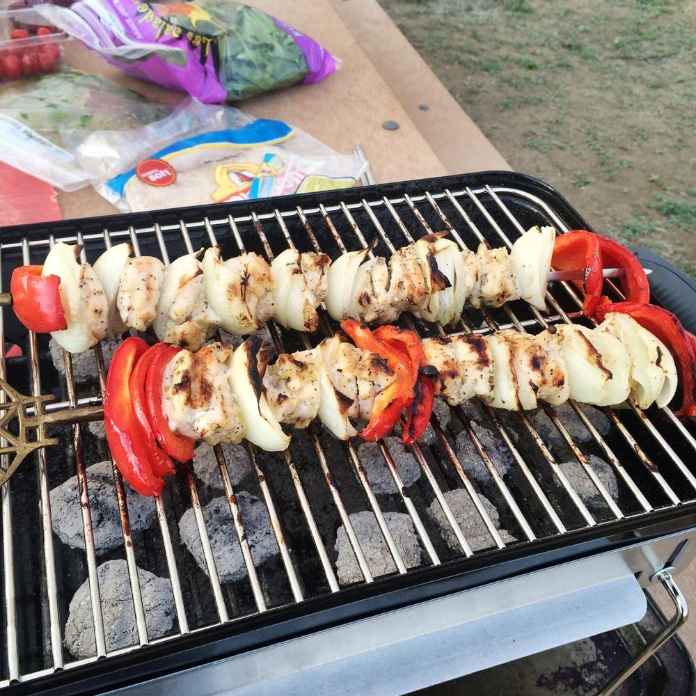 Chicken Souvlaki on the grill