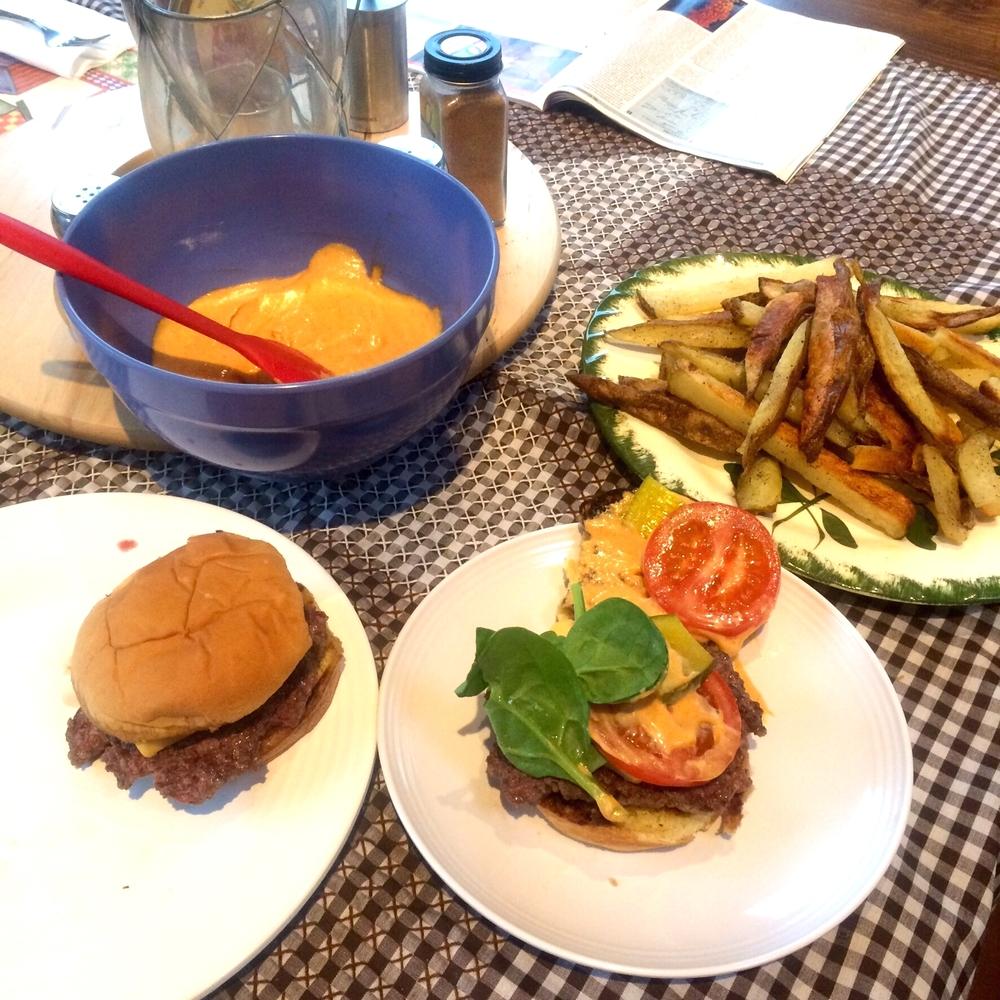 Shake Shack burgers with Baked Pomme Frites