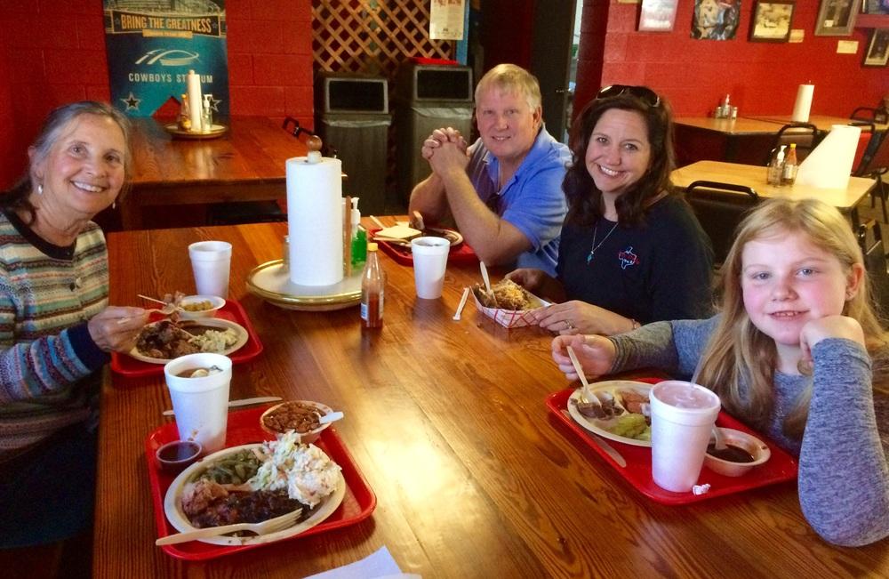 Joe, Jani, Jae and Sally enjoy tasty BBQ at Cranky Frank's. Great conversation and warm Texas hospitality.