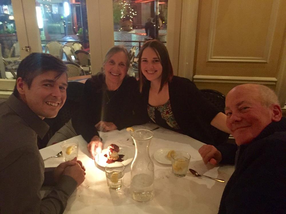 Sally's birthday dinner at a French restaurant
