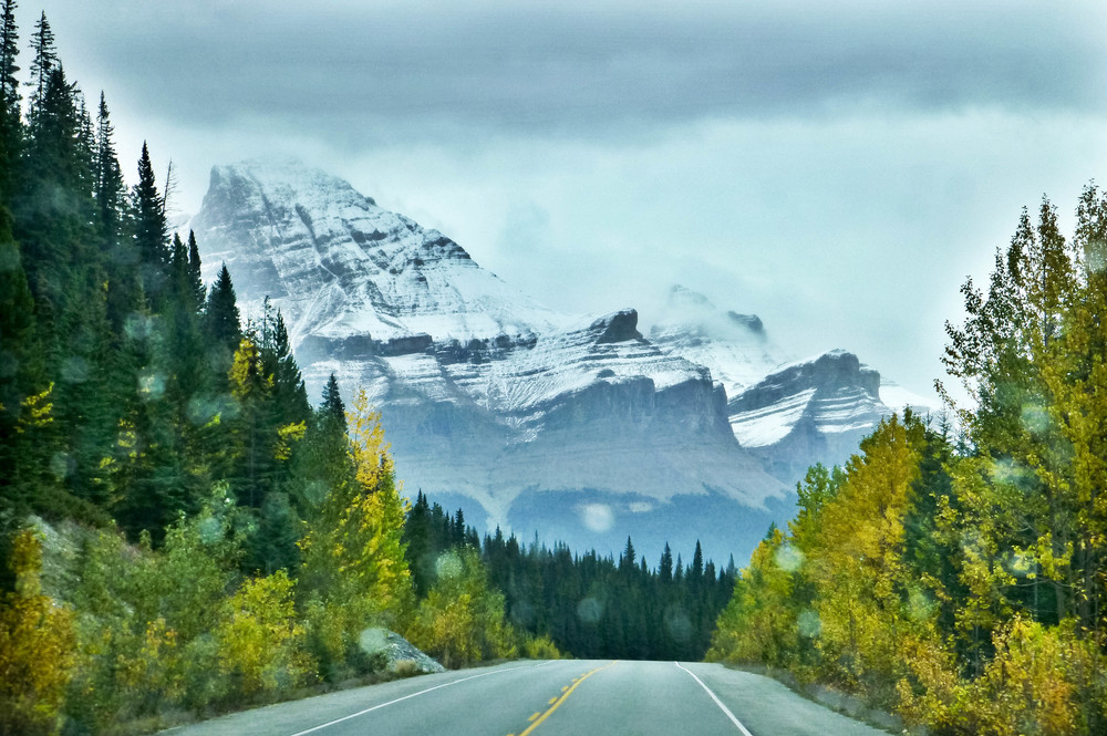 Icefields Parkway through the rainy windshield