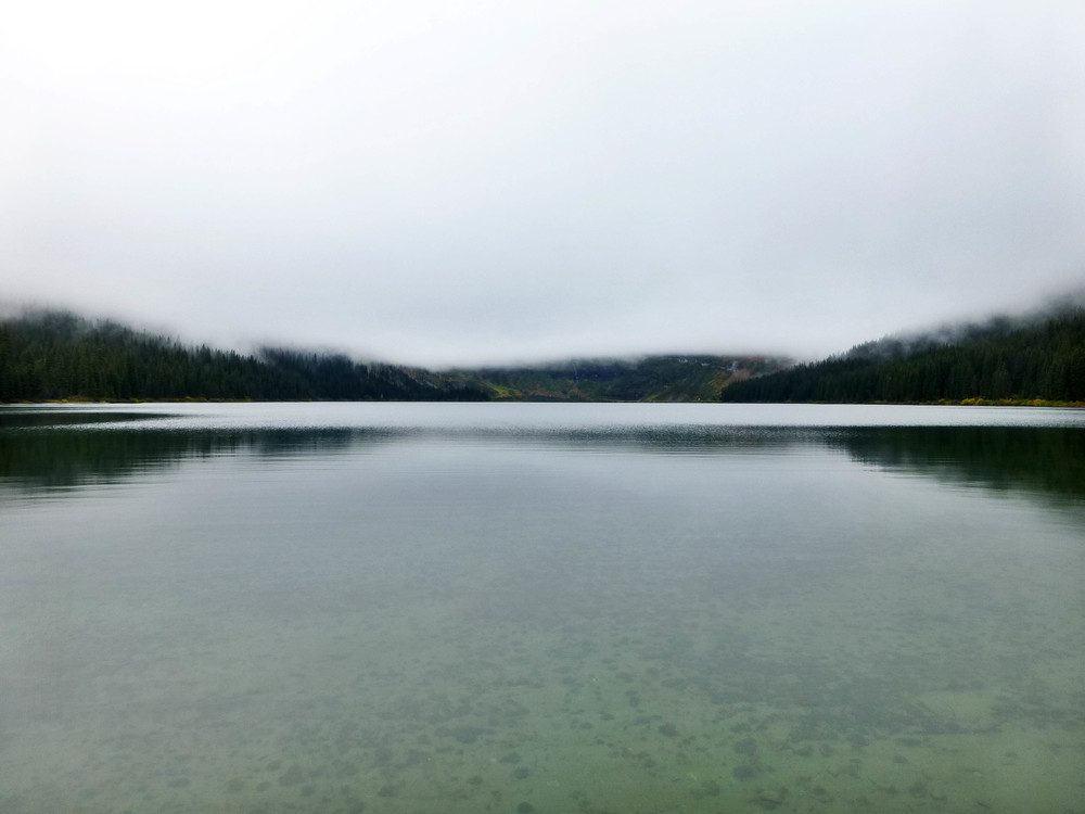 Low clouds over Cameron Lake