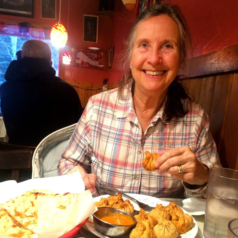 Delicious Nepali food in Estes Park with my sweetie, before snowshoeing tomorrow.
