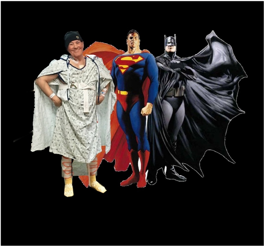 """Brother Tom """"photoshopped"""" in some of my best """"superhero"""" buds who happened to drop by."""
