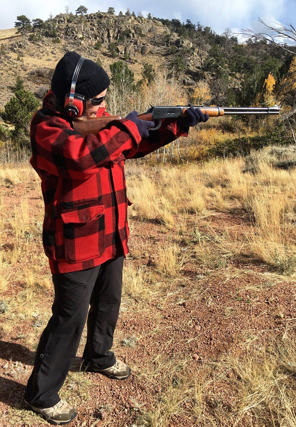 Sally shoots Grandma Thornberry's deer rifle in her old wool hunting coat - fond memories!
