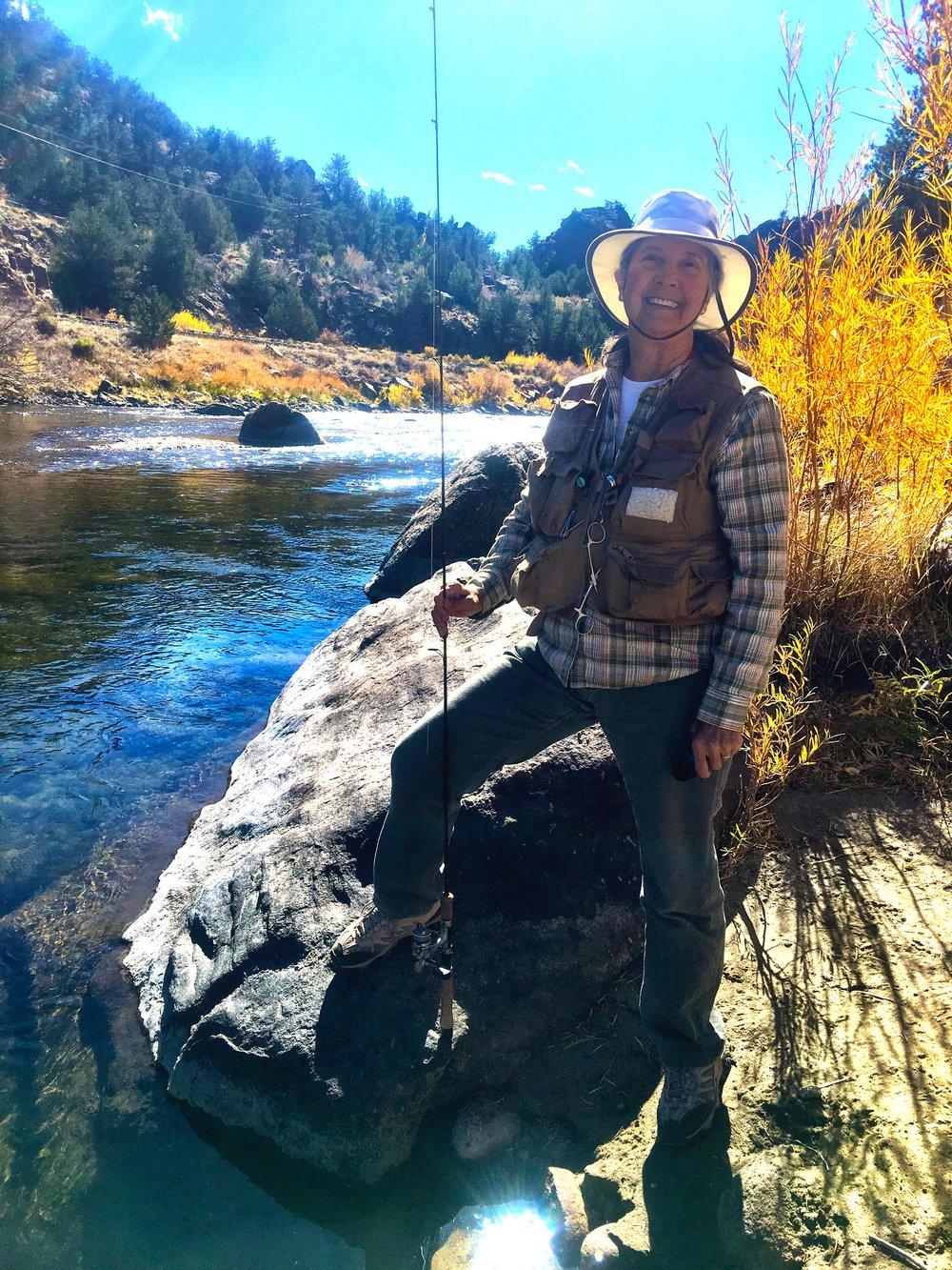 Sally fishing the Arkansas River