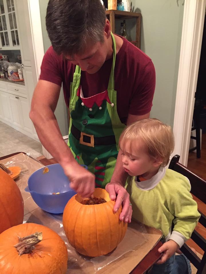 Drake's first pumpkin carving