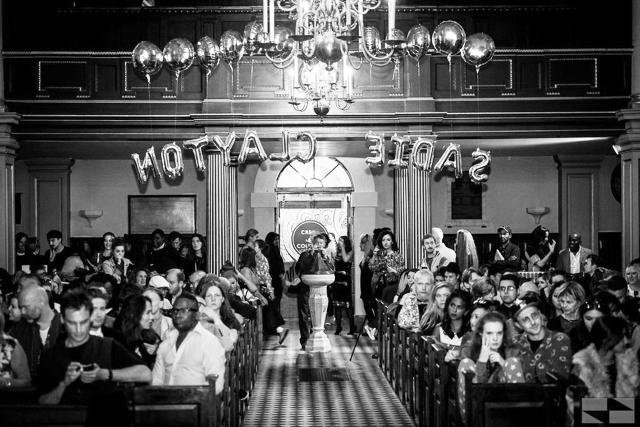 Inside Sadie Clayton's ss15 show off of London Fashion week at St Giles in the Fields.