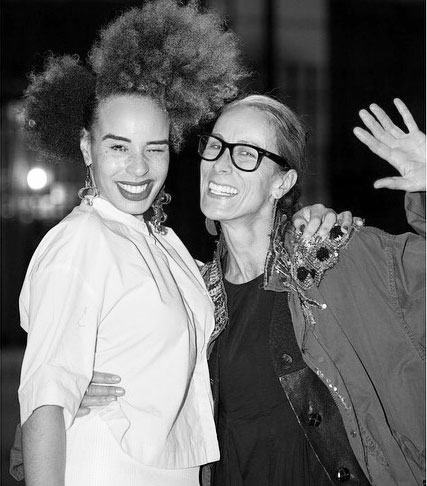 Sadie Clayton (L) and Caryn Franklin (R) at Clayton's SS15 show in London last week.