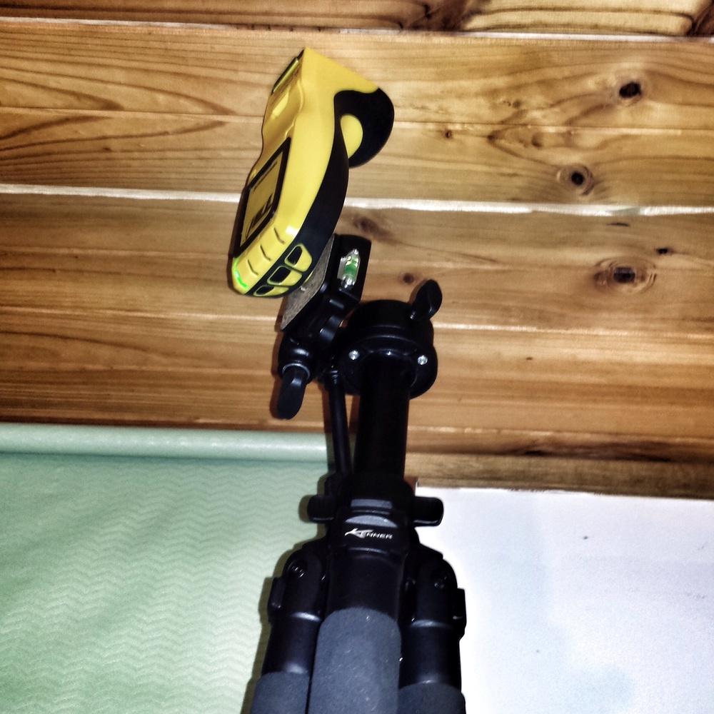 A Termatrac T3i Set up on a tripod to detect termites moving in a ceiling - this was in a 2 storey building where the cavity was heavily insulated.