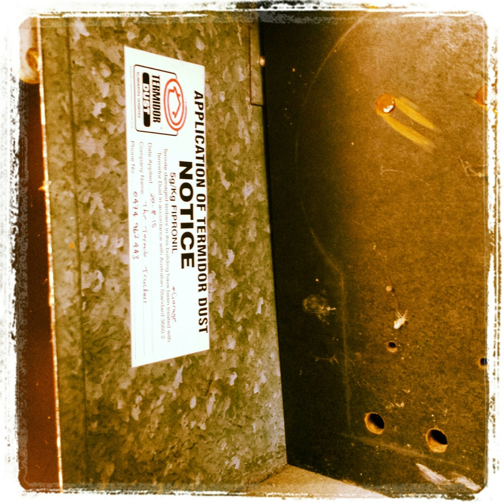 This sticker provides notice of a termidor termite treatment. This helps prevent anyone from inadvertently coming into contact with the termiticide.