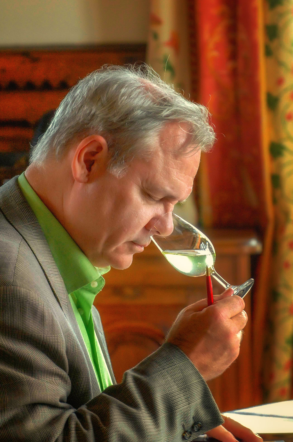 Lyn tasting vin claire at Champagne Mumm