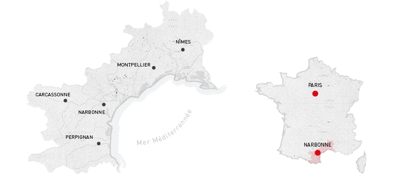 Map of Languedoc-Roussillon. Bertrand is based in Narbonne, with vineyards scattered throughout the region