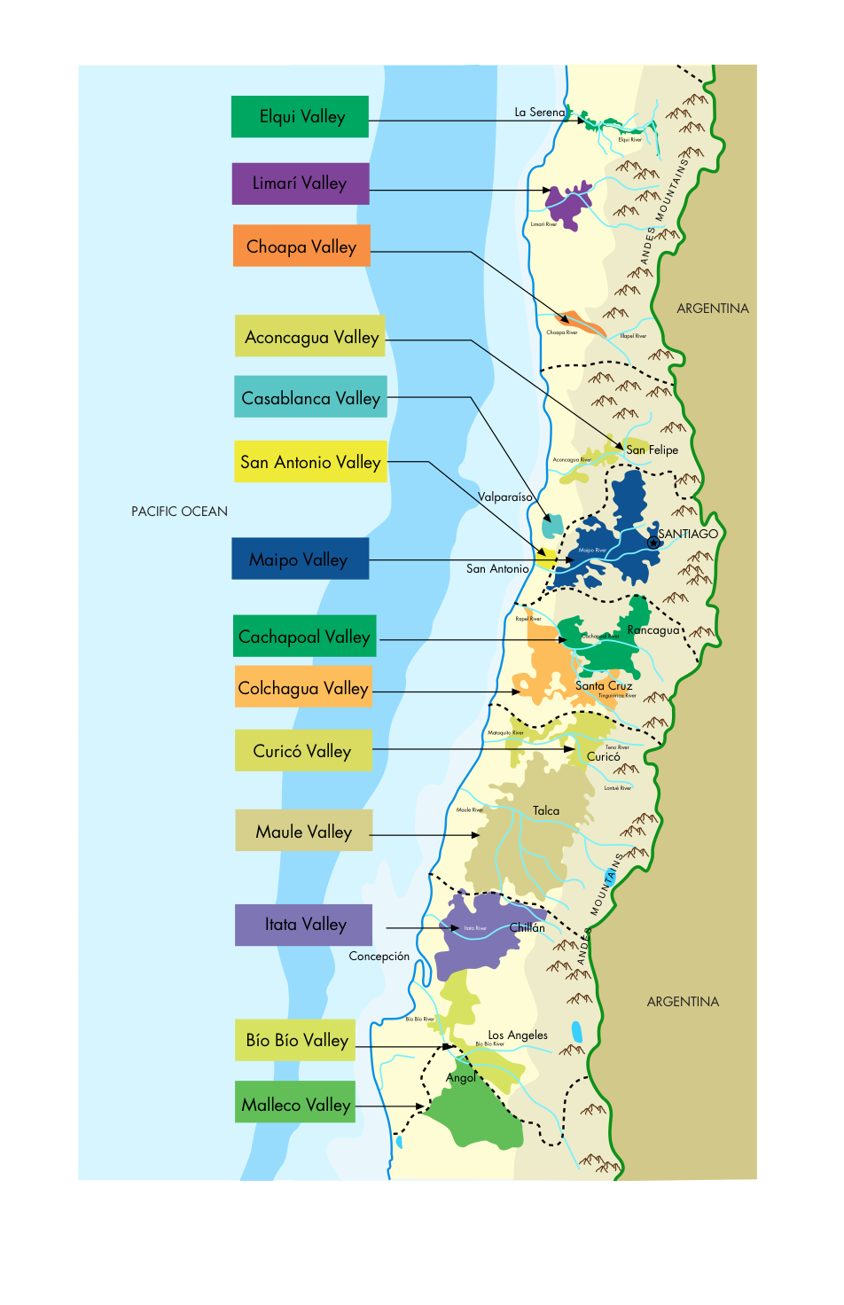 Map: Courtesy of Wines of Chile