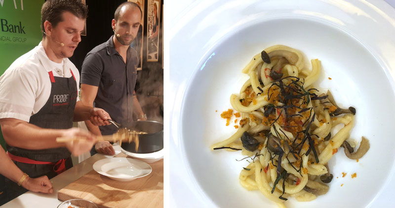 Chefs Justin Flit (l) and Brian Nasajon (r) and their gemelli with hon shimeji mushrooms (Photo: VeritageMiami)