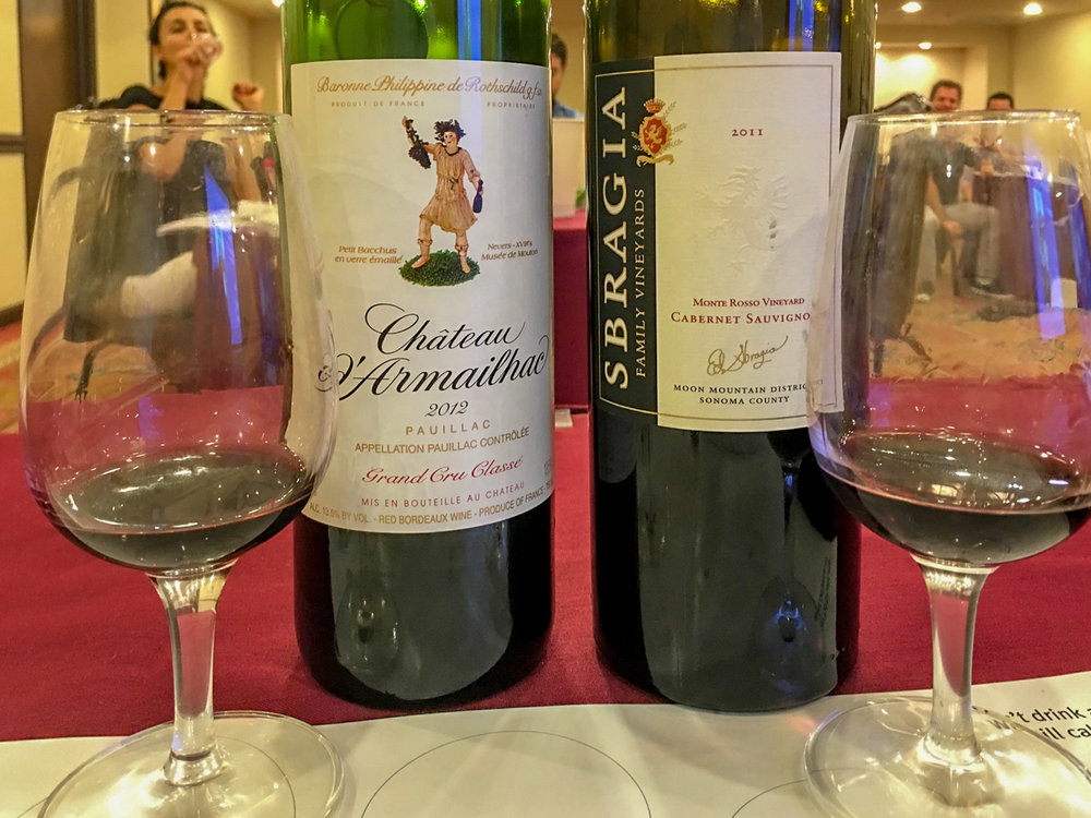 In many instances, we compare wines from the same grape grown in two different regions - here, Bordeaux cabernet vs. California Cab.