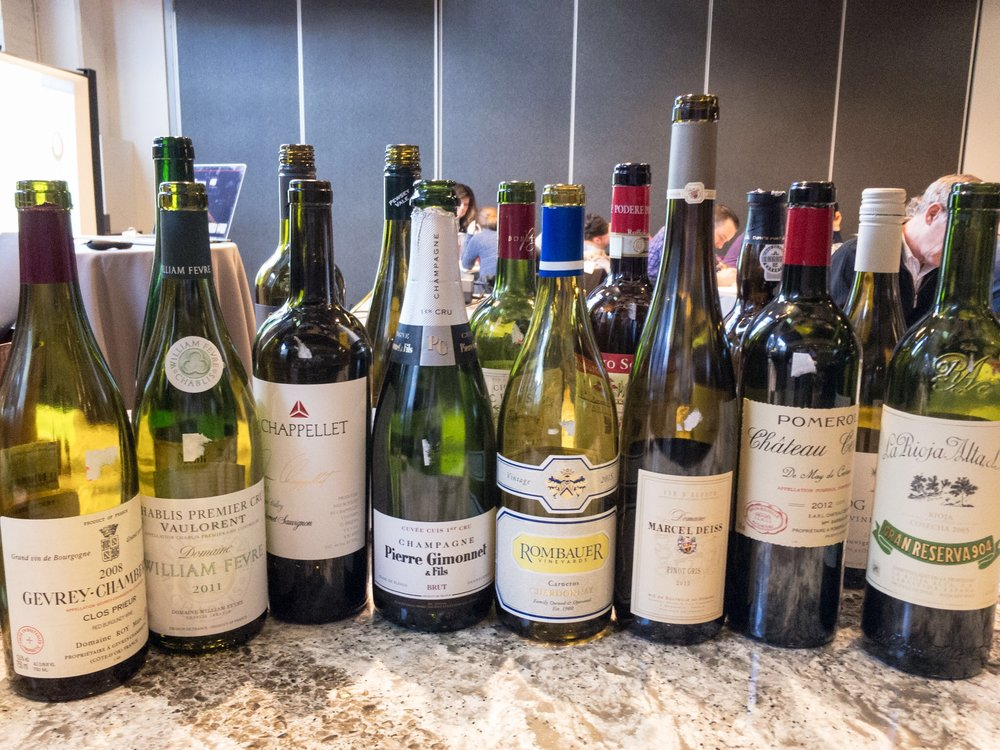 Some of the wines from a recent Level 1 course at The Chopping Block