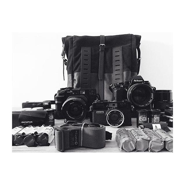 "Some of my gear for the ""competition"" organized by @japancamerahunter @onabags @street.silhouettes @millnrocky  To the next 100,000! ----------------------------- #jchxona #camera #cameraporn #filmisalive #filmisnotdead #mamiya #nikon #nikkor #olympus #kodak #shootfilm #onabags  #believeinfilm #fujifilm #jch400 #canon #photography #analog #travel #film #"