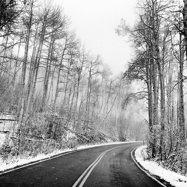 Looks like #winter is here! #colorado #snow #roadtrip #travel #nature #road #blackandwhite #bandw (Taken with Instagram)