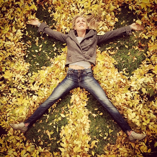 Leaf Angels! #fall #denver #color #leaves #symmetry #yellow #portrait #sister (Taken with Instagram)