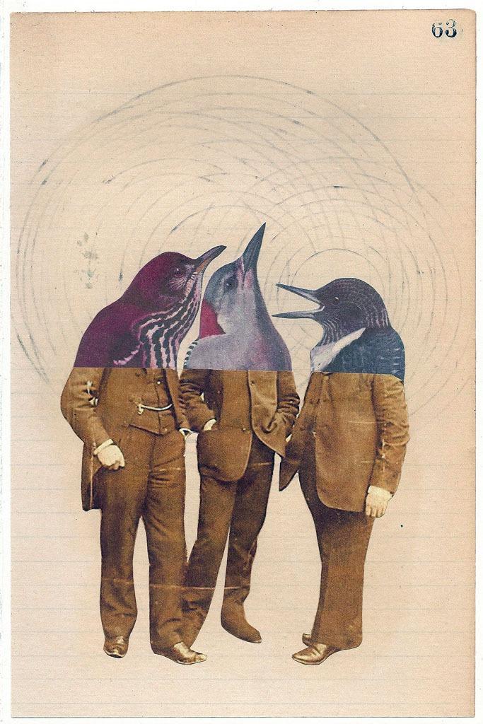 audreysmithart: 12.15.12 Trio Mixed media on paper; 6 x 9 inches