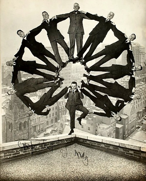 Man on Rooftop with Eleven Men in Formation on His Shoulders, 1930 From the exhibition Faking It: Manipulated Photography Before Photoshop at The Metropolitan Museum of Art