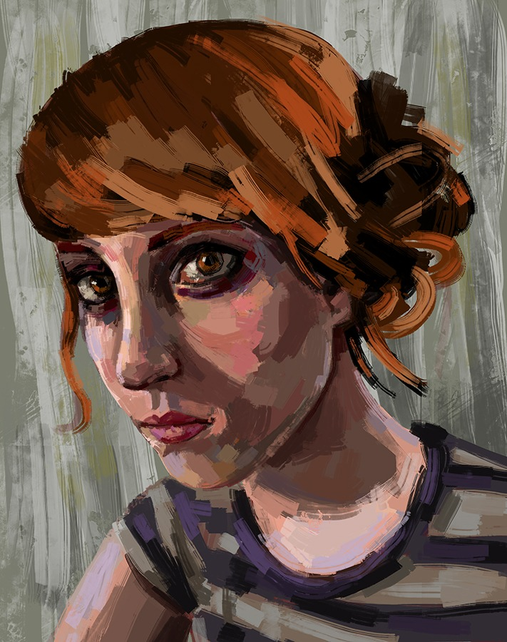 magicfran: Self portrait. This is a self portrait I painted for the New Art Academy for the 3DS, if you play the game keep an eye out for this hung on the wall ;) by Fran Court / Magicfran