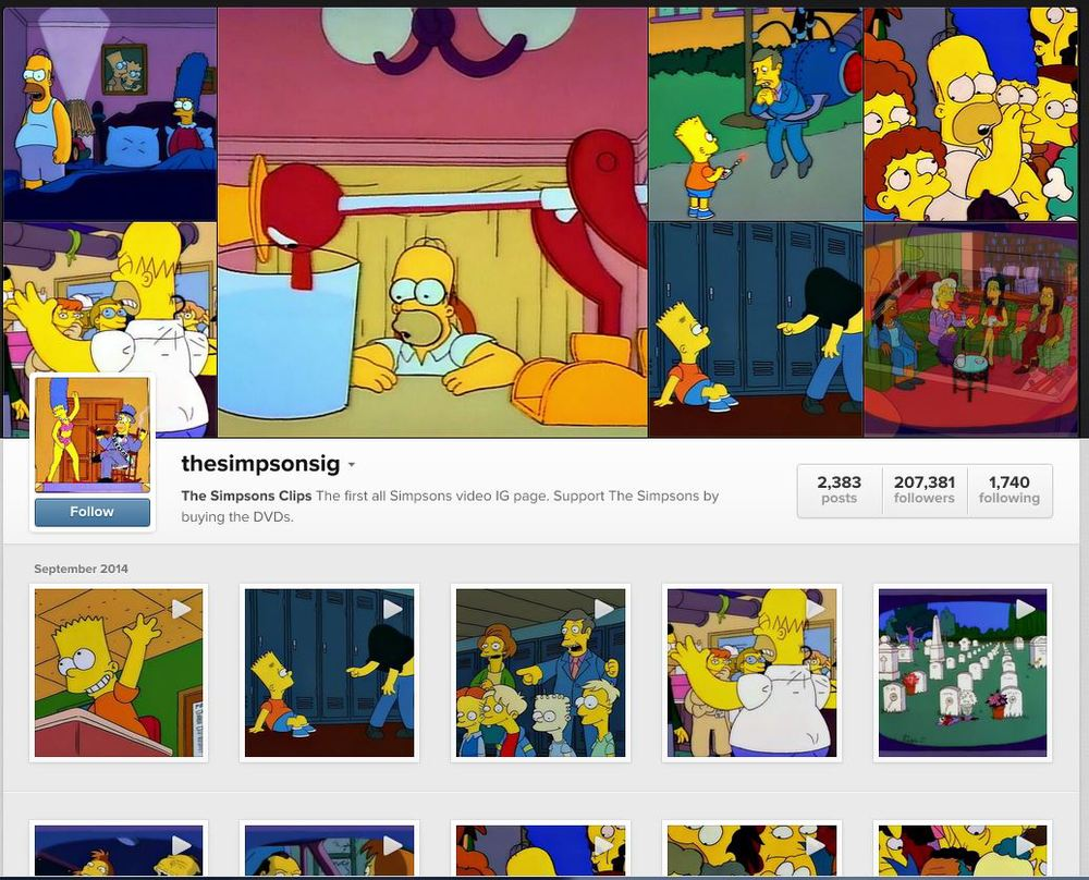 The Simpsons Instagram Page dedicated to Simpsons video clips