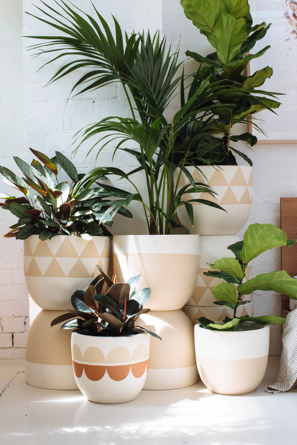 hand painted cement pots