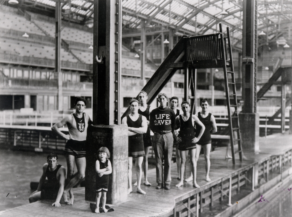 Swimmers & Lifeguard at Sutro Baths